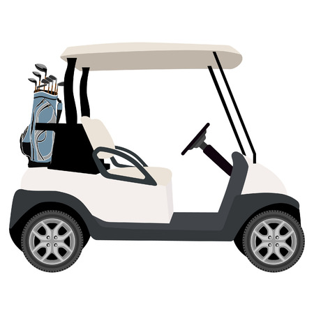 caddy: Vector illustration of golf cart with blue golf clubs bag. Sport equipment. Golf club
