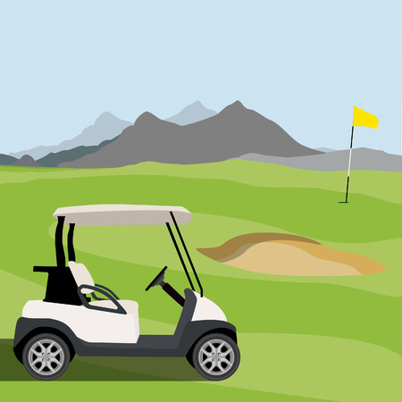 Vector illustration of golf field, golf flag and golf cart. Mountain landscape or background. Golf course.