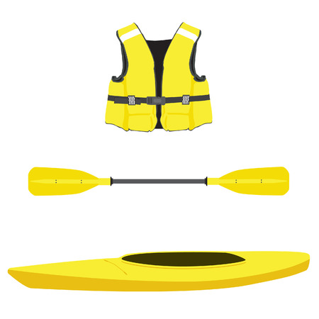 oar: Vector illustration of  yellow kayak boat, life jacket and plastic, rowing oar. Kayak isolated, sea kayak. Extreme sport