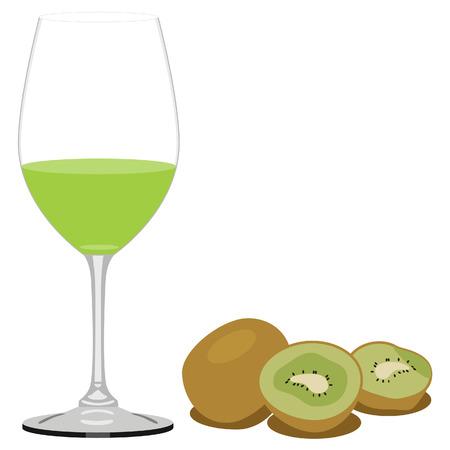 kiwi fruit: Ilustraci�n vectorial de jugo de kiwi y kiwi. Vaso de jugo. El jugo de frutas o bebidas
