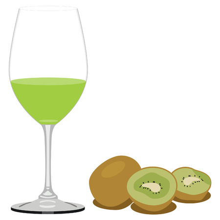 kiwi fruit: Vector illustration of kiwi juice and kiwi fruit. Glass of juice. Fruit juice or drink