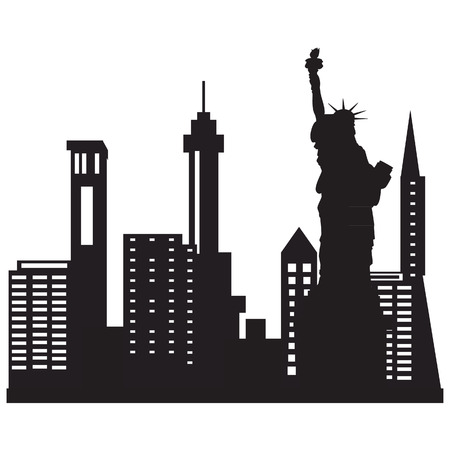 city skyline night: Vector illustration of city skyline night. Black city silhouette. New York city skyline with liberty statue
