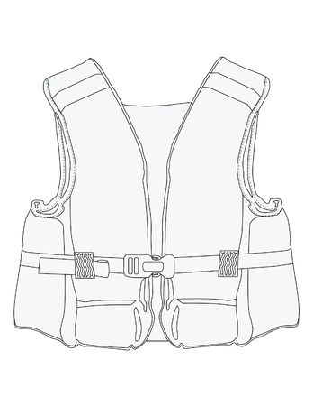 Vector illustration of outline drawing life jacket. Life vest, water protective, lifesaver, life preserver Vettoriali