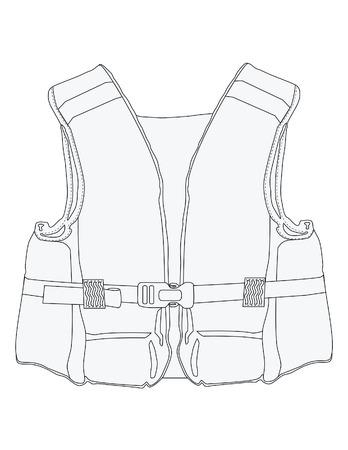 Vector illustration of outline drawing life jacket. Life vest, water protective, lifesaver, life preserver Illustration