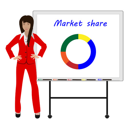 market share: Vector illustration of businesswoman showing market share graph on billboard and presenting and advertising. Presentation concept Illustration