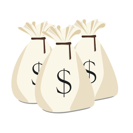 moneybag: Vector illustration three money bags with dollar symbol. Money sack. Money bag icon.