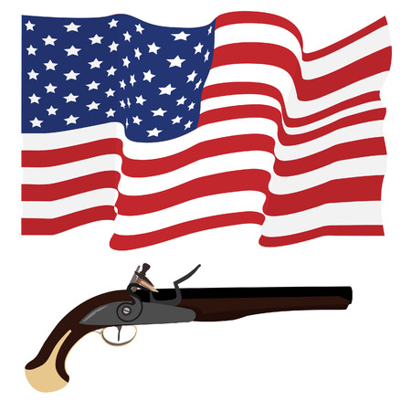 musket: Waving flag of united states of american and musket gun military weapon. Usa flag. American flag