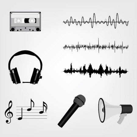 vibrations: Vector Sound Waveforms. Sound waves and musical pulse icons. Cassette tape, microphone, loudspeaker, musical notes and headphone Illustration