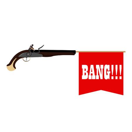 revolver: Toy gun shoots a flag with text bang. Military weapon musket gun. Weapon bang. Musket bang