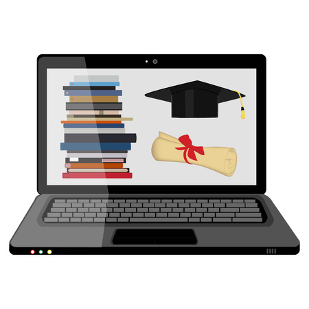 aprendizaje: Ilustración del vector de la educación profesional en línea. La formación en línea. Aprender en línea. Concepto del aprendizaje electrónico. Sombrero de graduación, pila de libro, libro y portátil
