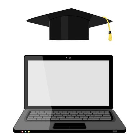 graduation hat: Vector illustration of professional online education. Online training. Online learning. E-learning concept. Graduation hat and laptop