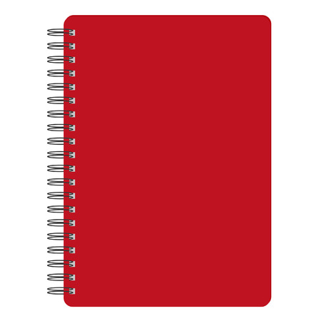 Vector illustration of red blank empty spiral notepad, notebook. Closed notebook. Red notebook cover Ilustrace