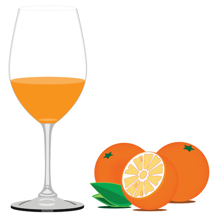 tubule: Vector illustration of orange juice and orange fruit with leaves. Glass of juice. Fruit juice or drink