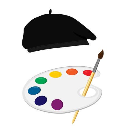 paint palette: Vector illustration painter symbol or concept. Painter hat, beret, paint palette and paint brush