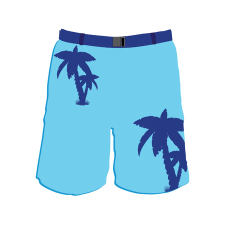 swim wear: Men board shorts vector template. Man blue swimwear trousers with palms.