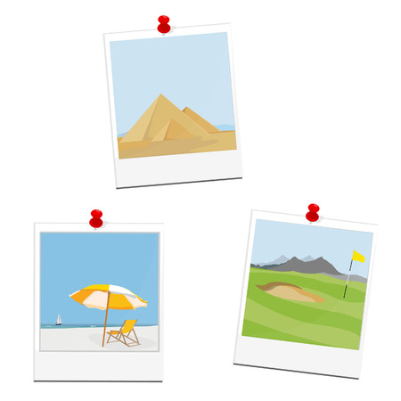 moutain: Polaroid photo picture from travel. Egypt pyramids giza. Golf field at mountain landscape. Summer holiday beach, sea, umbrella and chair. Seaside Illustration