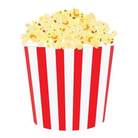 Vector illustratie van de film popcorn. Popcorn in rood en wit gestreepte doos. Popcorn box. Papieren zak met popcorn