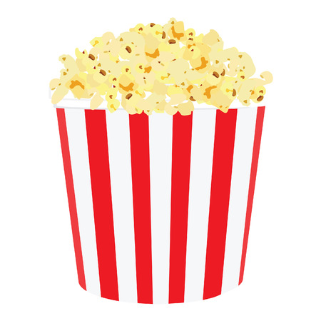 Vector illustration of movie popcorn. Popcorn in red and white striped box. Popcorn box. Paper bag with popcorn