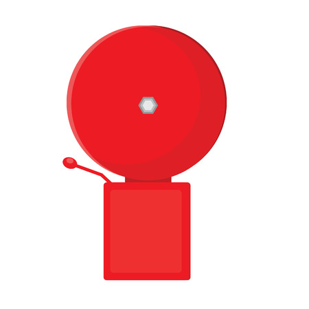 fire alarm: Red fire alarm bell vector isolated, warning noise