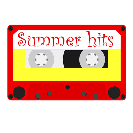 hits: Cassette tape with summer hits for summer party vector illustration. Summertime disco. Retro audio cassette tape