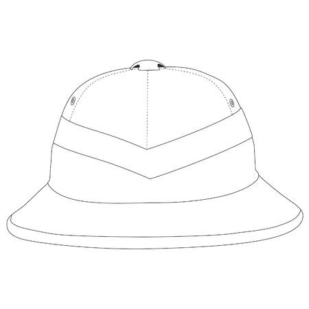 outline drawing: Outline drawing of safari hat. Traveling hat. Explorer hat