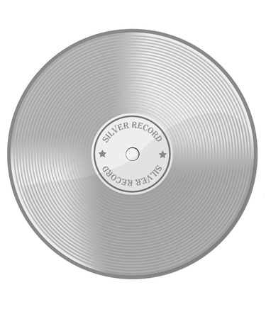 second place: Vector illustration of music award silver vinyl. Silver disc. Silver record. Second place