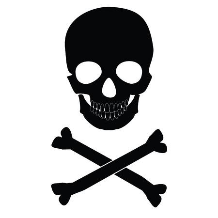 calavera: Ilustración del vector negro silueta de cráneo y tibias cruzadas. Cráneo humano. Calavera y tibias cruzadas de peligro, riesgo, señal de peligro