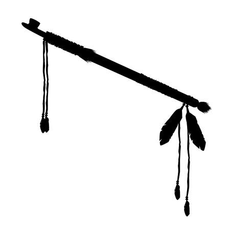pipe smoking: Vektor-Illustration schwarze Silhouette von Calumet. Rauchen St�ck Rohrvektorikone getrennt, indische native american