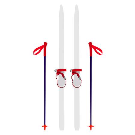 extreme sport: Vector illustration of professional white skis and sticks. Ski equipment. Extreme sport.