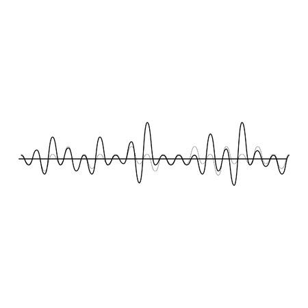 サウンド ウェーブのベクター イラストです。オーディオのイコライザー技術、パルス ミュージカル。