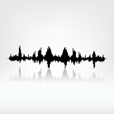 radio wave: Sound wave with reflection on grey background. Audio equalizer technology, pulse musical. Vector illustration. Sound wave icon. Radio wave