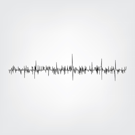 undulate: Sound wave on grey background. Audio equalizer technology, pulse musical. Vector illustration. Sound wave