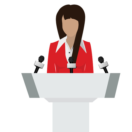 orator: Vector illustration woman orator speaking from tribune. Business woman in red suit. Speaker person. Conference speaker. Podium speech. Speaker podium