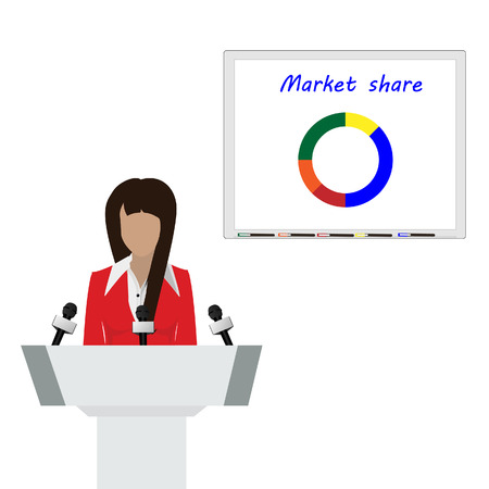 conference speaker: Vector illustration woman orator speaking from tribune and showing market share graph on billboard. Business woman in red suit. Speaker person. Conference speaker. Podium speech.