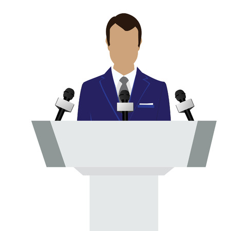 podium: Vector illustration man orator speaking from tribune. Business man in blue suit. Speaker person. Conference speaker. Podium speech. Speaker podium