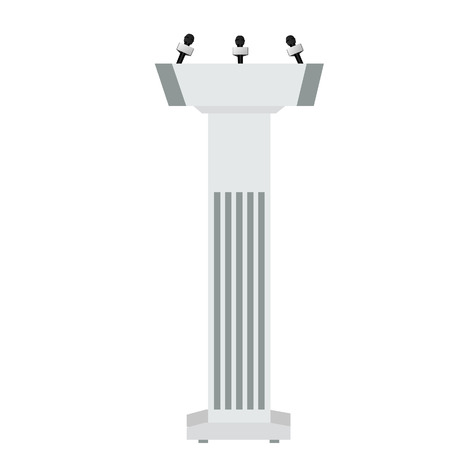tribune: Vector illustration of speaker podium with three microphones. Speaker tribune.