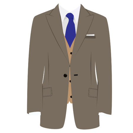 tailored: Vector illustration of brown man suit with blue tie and white shirt on grey background. Business suit, business, mens suit, man in suit
