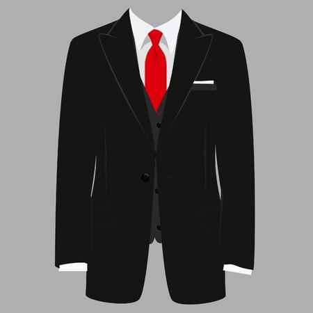 Вектор iillustration черного человека костюме с красным галстуком и белой рубашке на сером фоне. Деловой костюм, бизнес, мужской костюм, человек в костюме
