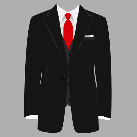 Vector iillustration of  black man suit with red tie and white shirt on grey background. Business suit, business, mens suit, man in suit Vettoriali