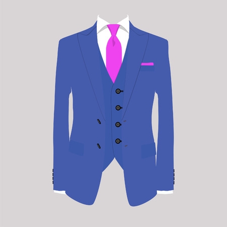 Vector illustration of blue man suit with pink tie and white shirt on grey background. Business suit, business, mens suit, man in suit Vettoriali