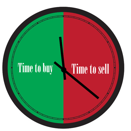 energize: Vector illustration of wall clock with text time to buy and time to sell on its dial. Illustration