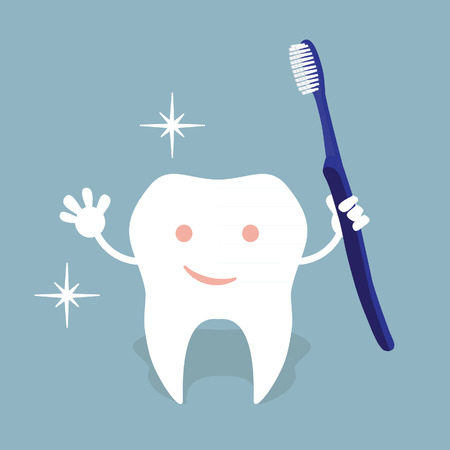 rinsing: Children teeth care and hygiene cartoon flat vector icon. Oral hygiene banner with cute tooth. Brushing, flossing and rinsing. Vector illustration.