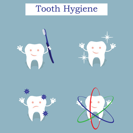 rinsing: Children teeth care and hygiene cartoon flat vector icons. Oral hygiene banners with cute tooth. Brushing, flossing and rinsing. Vector illustration.