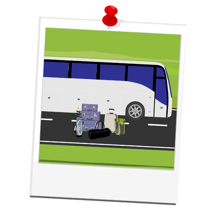 tourist bus: Vector illustration polaroid picture with white tourist bus on the road and different types of baggage . Mountain landscape or background. Bus travel road. Bus highway