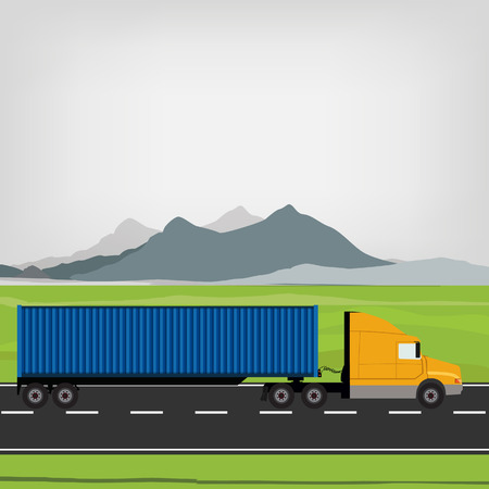mountain road: Vector illustration of blue and yellow cargo truck driving on the road. Mountain landscape or background. Truck with container. Delivery transport Illustration