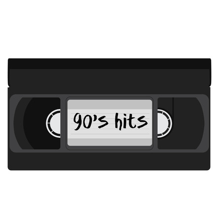 video cassette tape: Black video cassette tape with text 90s hits vector isolated. Illustration