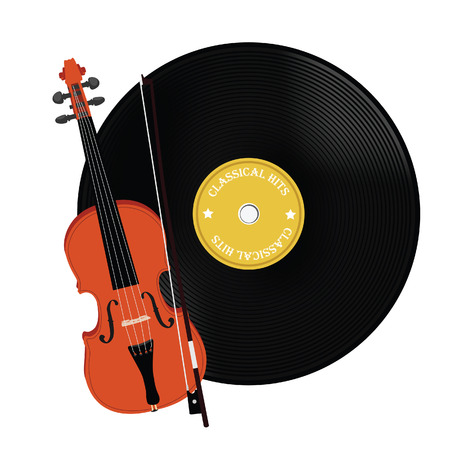 hits: Vinyl golden disc with classical hits and violin with stick. Music symbols. Music award. Vinyl record Illustration