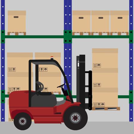 warehouse interior: Magazzino illustrazione vettoriale. Caricatore per auto con scatole di cartone con simboli di spedizione. Progettazione di archiviazione. Magazzino interno Vettoriali