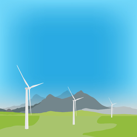 windpower: Vector illustration of wind turbine in background with field and mountain landscape. Wind power, wind energy Illustration