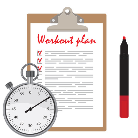 checkboxes: Workout plan with checkboxes on clipboard, red marker pen and stopwatch counter. Illustration